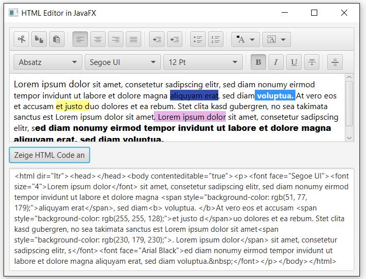 HTML Editor in JavaFX Code Anzeigen