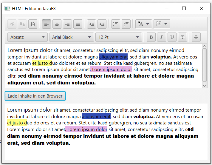 HTML Editor in JavaFX in Browser