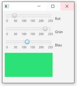 Slider in JavaFX RGB Farben Programm
